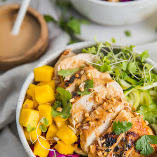 "Whole30 Thai Chicken Zoodle Bowls (with ""Peanut"" Sauce, Low Carb, Paleo) Recipe"