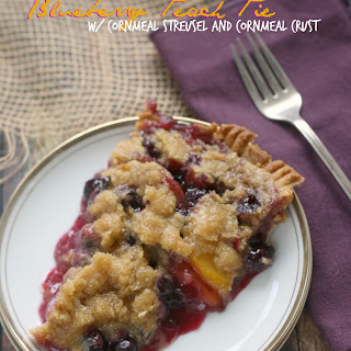Blueberry Peach Pie w/ Cornmeal Streusel and a Cornmeal Crust