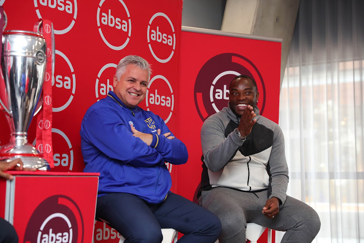 Cape Town City FC chairman John Comitis (L) shares a stage with his head coach Benni McCarthy (R) during the club's press conference at Radisson Red in Cape Town on September 13 2018.