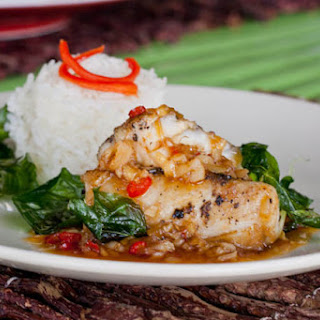Sweet and Sour Spicy Fish with Deep Fried Basil.