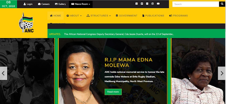 Screengrab of the new ANC website.