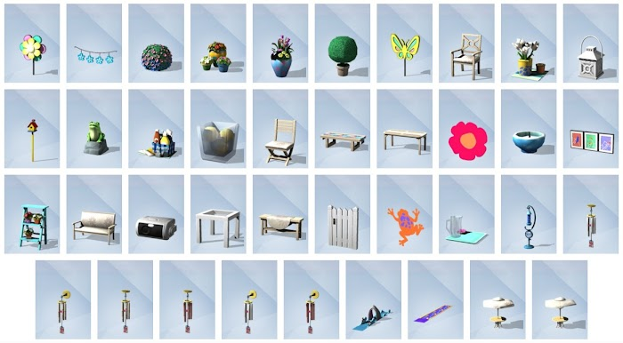 De Sims 4 Achtertuin Accessoires bouwen overzicht