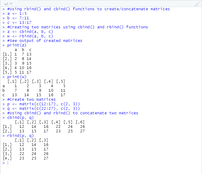 This image shows the example code with output for the cbind() and the rbind() function under R programming.