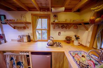 Photo: Galley style kitchen.