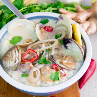 THAI-STYLE CLAM CHOWDER with rice and coconut milk.