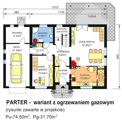 BW-44 - Rzut parteru - propozycja adaptacji - ogrzewanie gazowe