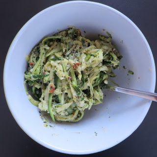 Garlic, Parmesan, and Basil Pesto Zucchini Pasta.