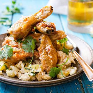 Thai Chicken Wings With Coconut-pineapple Cauliflower.