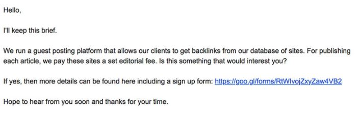 screenshot of unsolited spam email asking for a link