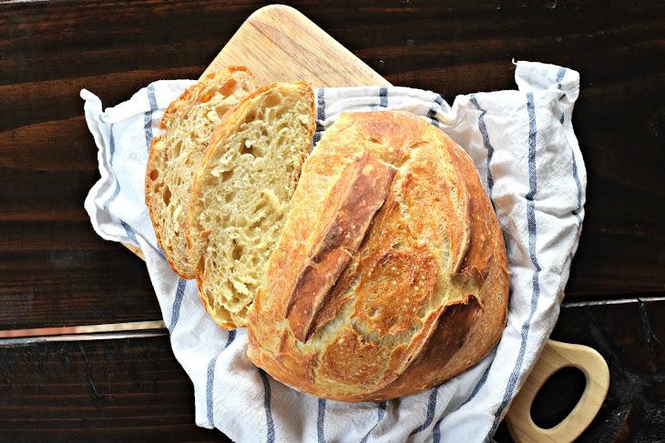 No-Knead Homemade Crusty Artisan Bread Recipe