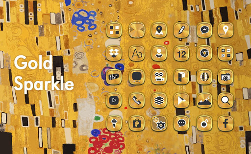 Gold Sparkle launcher theme