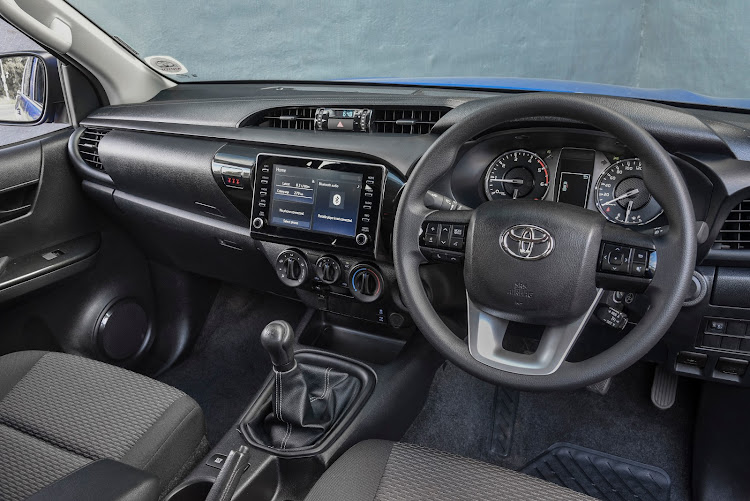 The interior of the Toyota Hilux 2.4 GD-6 4x4 Raider.