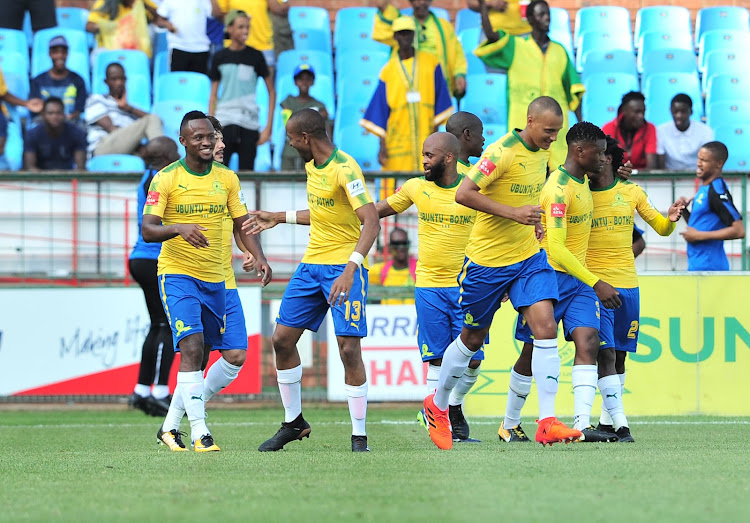 Thokozani Sekotlong of Mamelodi Sundowns celebrates a goal with teammates during the Absa Premiership 2017/18 football match between Mamelodi Sundowns and Bloemfontein Celtic at Loftus Stadium, Pretoria on 16 December 2017.