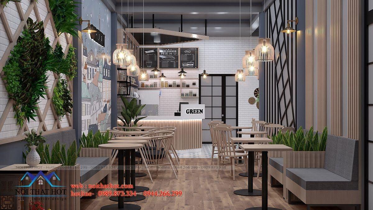 thiết kế quán trà sữa green 2