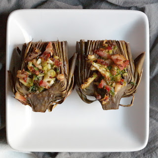 ROASTED ARTICHOKES STUFFED WITH BRUSSELS AND BACON