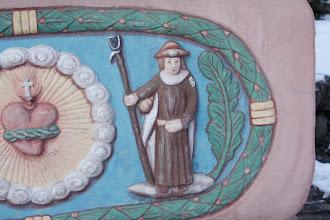 Photo: Saint Jacques de Compostelle, reproduit sur le tampon du crédential