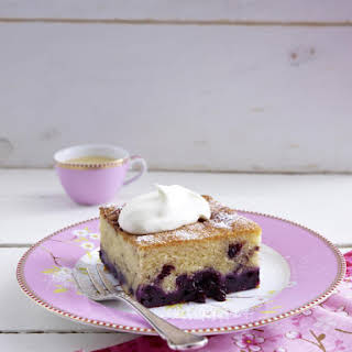 Dense Vanilla and Blueberry Cake.