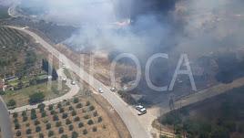 Imagen del incendio efectuada por operativos del Infoca.