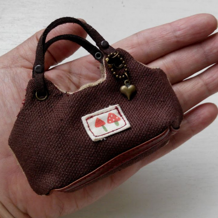 Brown Mini Bag by Lessugar Handmade