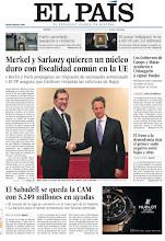 Photo: Merkel y Sarkozy apuestan por fiscalidad común en la UE y la CAM, rescatada, en nuestra portada http://www.elpais.com/static/misc/portada20111208.pdf