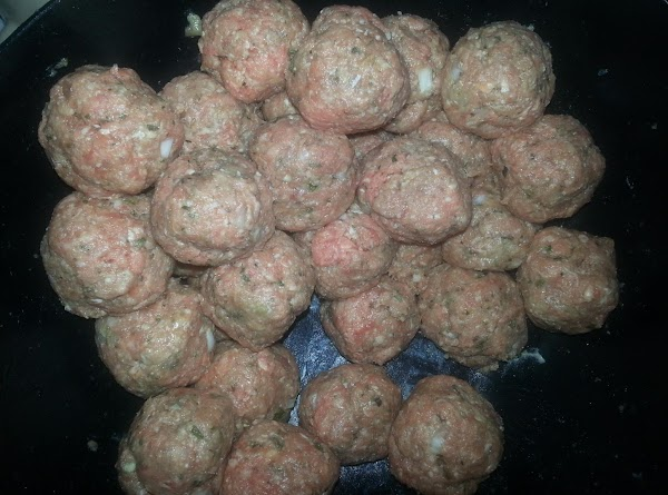 Shape meatballs into the size of about a golf ball. You can make smaller...