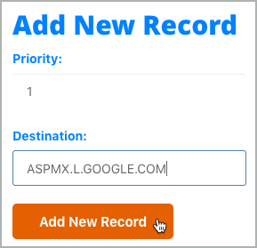 An MX record is entered in the Add New Record section, and the Add New Record button is selected.