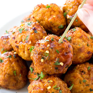 Slow Cooker Firecracker Chicken Meatballs.