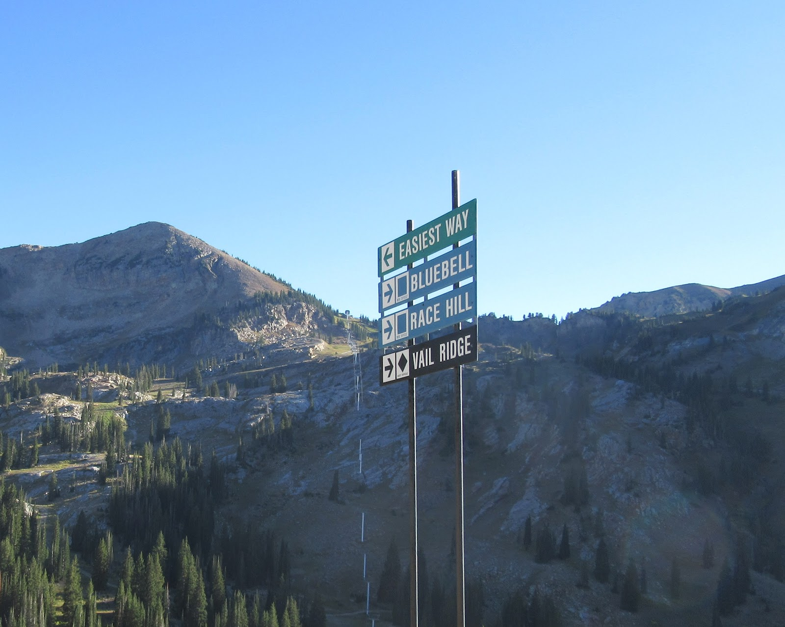 Ski run sign at the finish of the Little Cottonwood Canyon bicycle ride.