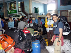 Photo: The domestic terminal at Kathmandu airport.  Member duffels are piled up ready to go.