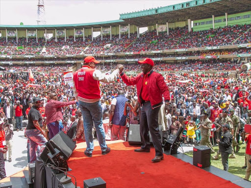 President Uhuru Kenyatta with Deputy President William Ruto during the launch of the Jubilee Party in 2016