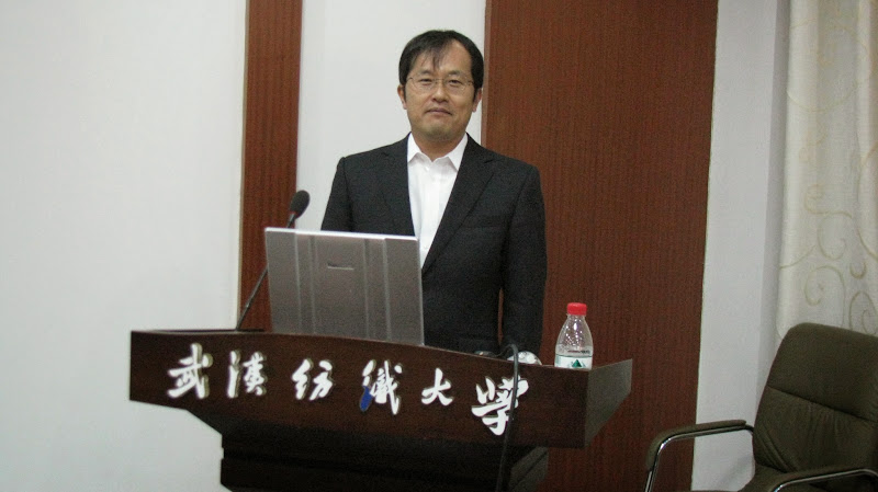 Photo: presentation at Wuhan Textile University (Dec. 7, Tues.)