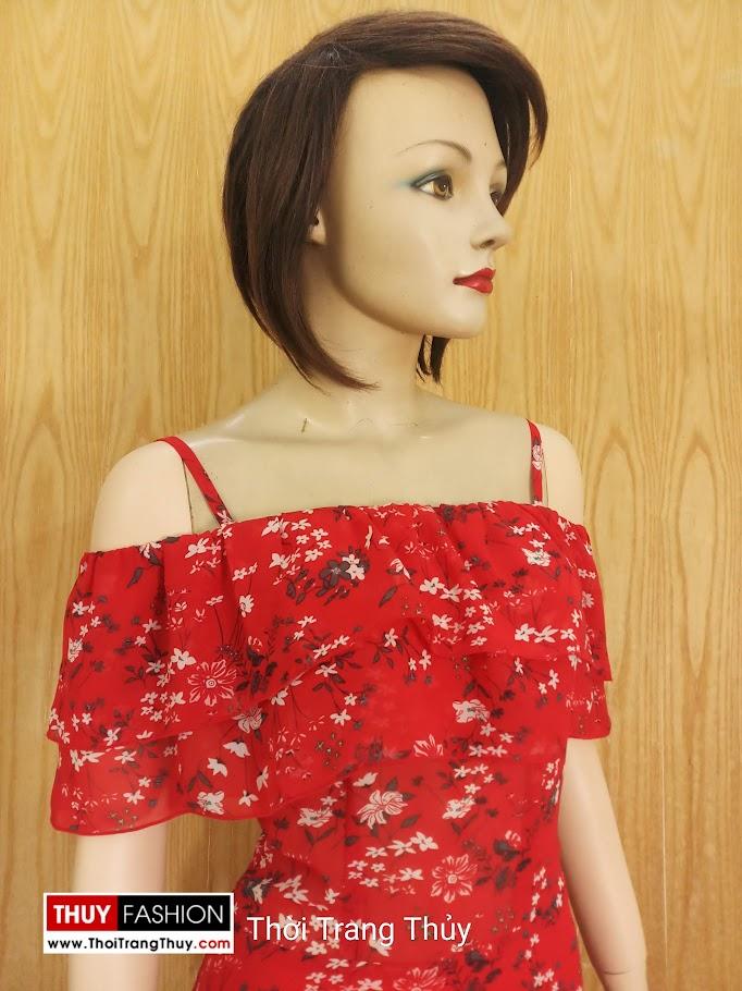 Váy Maxi hai dây hở vai hoa nhí màu đỏ V688 thời trang thuỷ hà nội