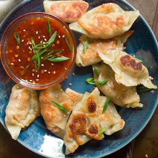 Smoky Tofu Dumplings with Sweet Chili Dipping Sauce.