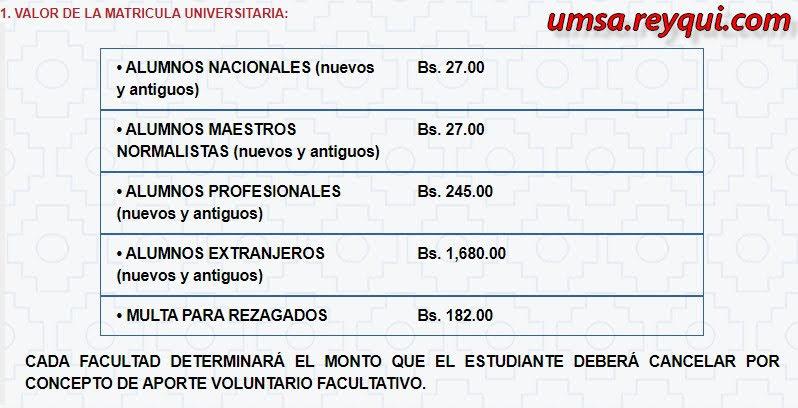 Matriculación UMSA 2020