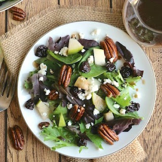 Salad with Goat Cheese, Pears, Candied Pecans and Maple-Balsamic Dressing.