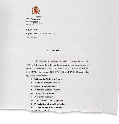 Первый лист обвинительного заключения испанской прокуратуры по делу «русской мафии»