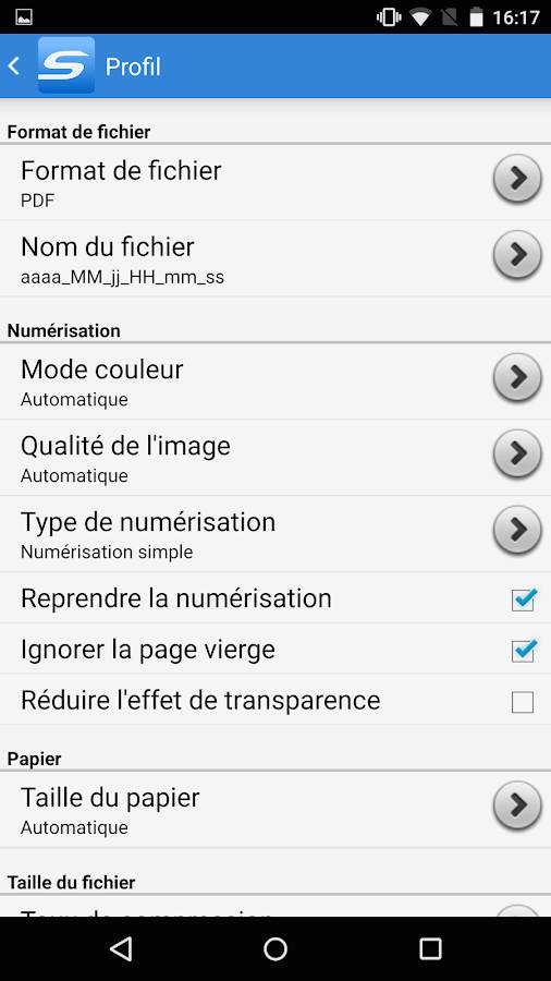 ScanSnap Connect Application. – Capture d'écran