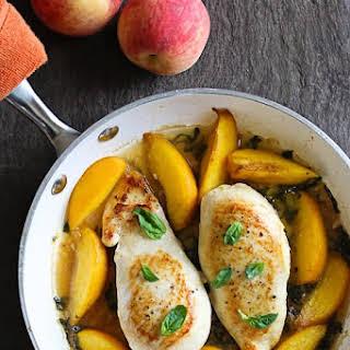 Skillet Basil-Peach Chicken Breasts.