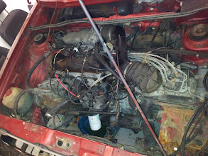 """Photo: Beginning of the project: Install a 150hp """"AEB"""" engine code 1.8L turbo engine from an 1997 Audi A4 Quattro into a 1982 Cabriolet"""