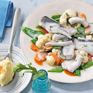 Aalfilet mit Gemüseragout