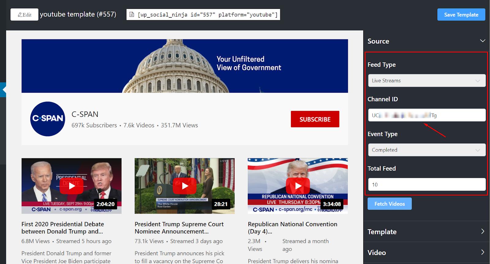 YouTube feed live streams