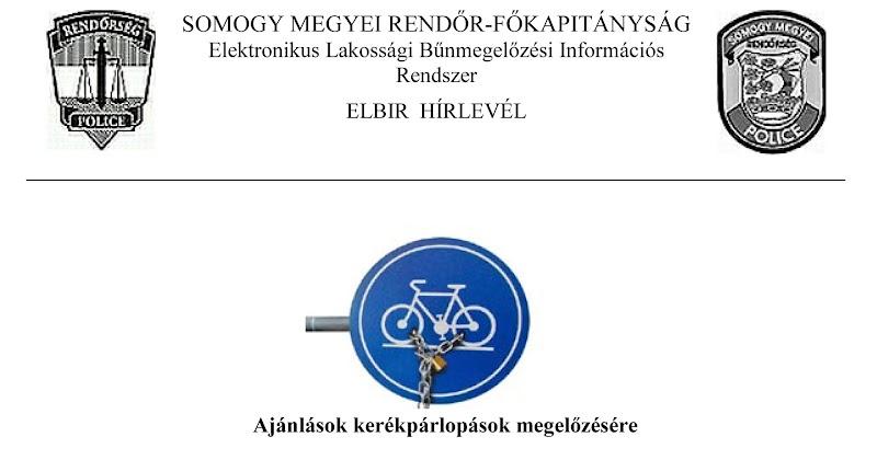 Ajánlások kerékpárlopások megelőzésére - 2017