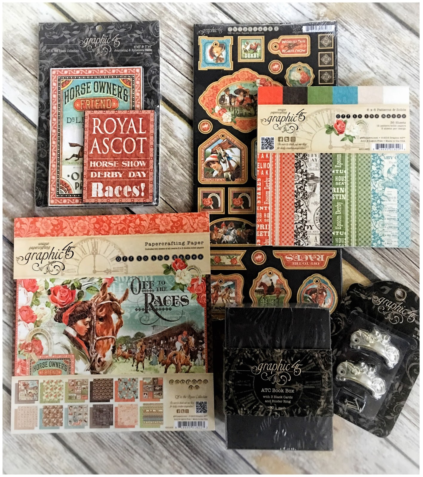 (FB prize April 14) Off to the Races, ATC Book Box, Metal Prize $40 Graphic 45