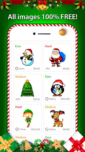 Christmas Pixel Art - Color by No. Coloring Pages - screenshot
