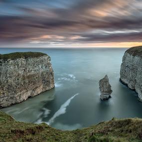 Queen Rock by Phil Green - Landscapes Waterscapes ( queen rock, flamborough, east yorkshire, breil newk )