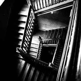 by Andrew Percival - Buildings & Architecture Public & Historical ( old house, scotland, leading lines, stairs, vintage, black and white, victorian, shadows )