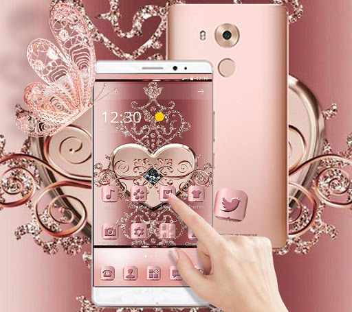 Rose Gold Love Hearts Butterfly Theme for PC