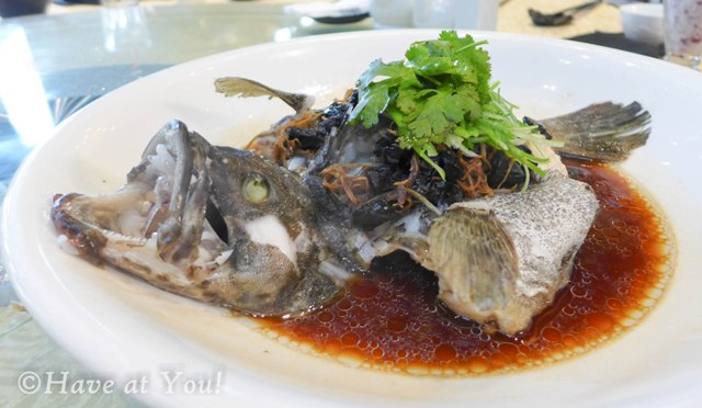 Steamed Lapu with olives