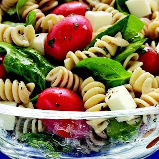 Spinach, Tomato, Mozzarella Pasta Salad.