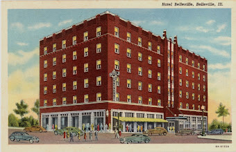 Photo: Hotel Belleville - built 1931 (1940's post card) Southeast Corner of Public Square Current site of the Meredith Memorial Home